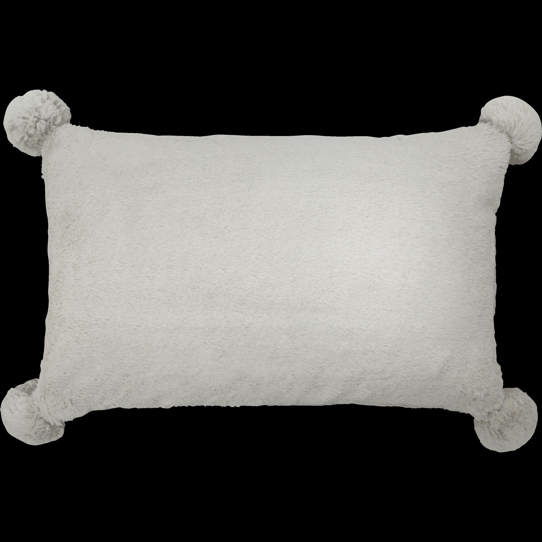 Coussin gris 30x50cm avec pompons pour enfant