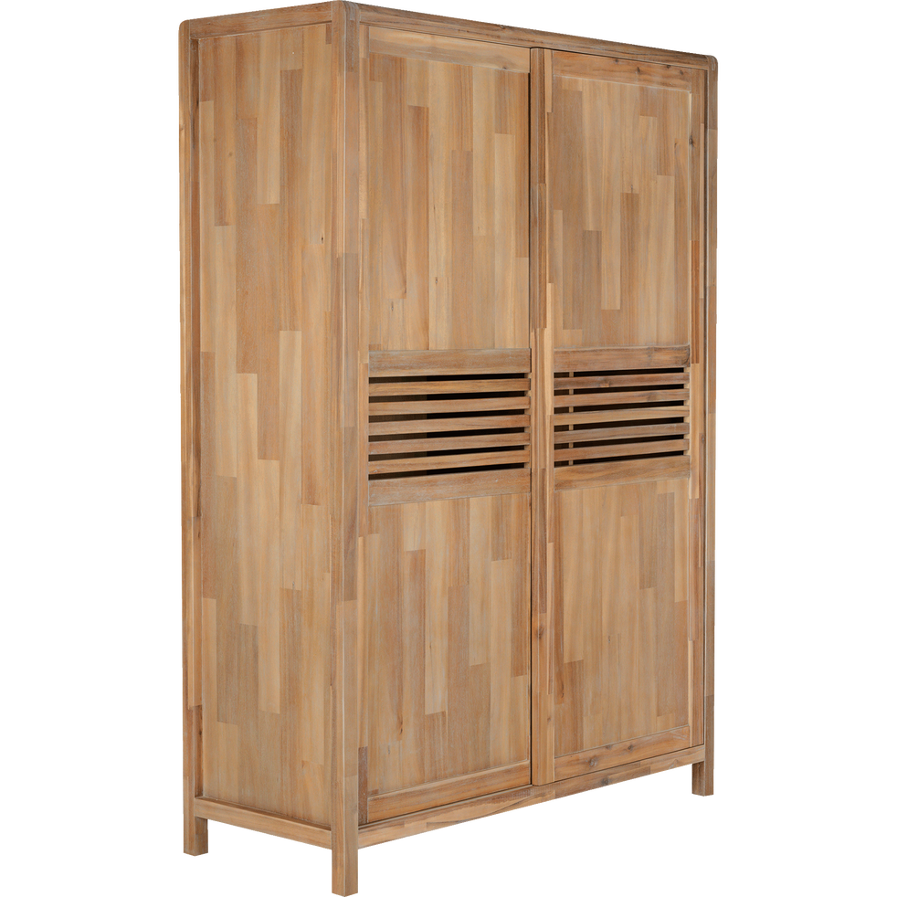armoire 2 portes coulissantes en acacia massif gaia armoires alinea. Black Bedroom Furniture Sets. Home Design Ideas