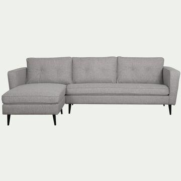 Canapé 4 places d'angle gauche fixe en tissu - gris borie-BARTHOLE