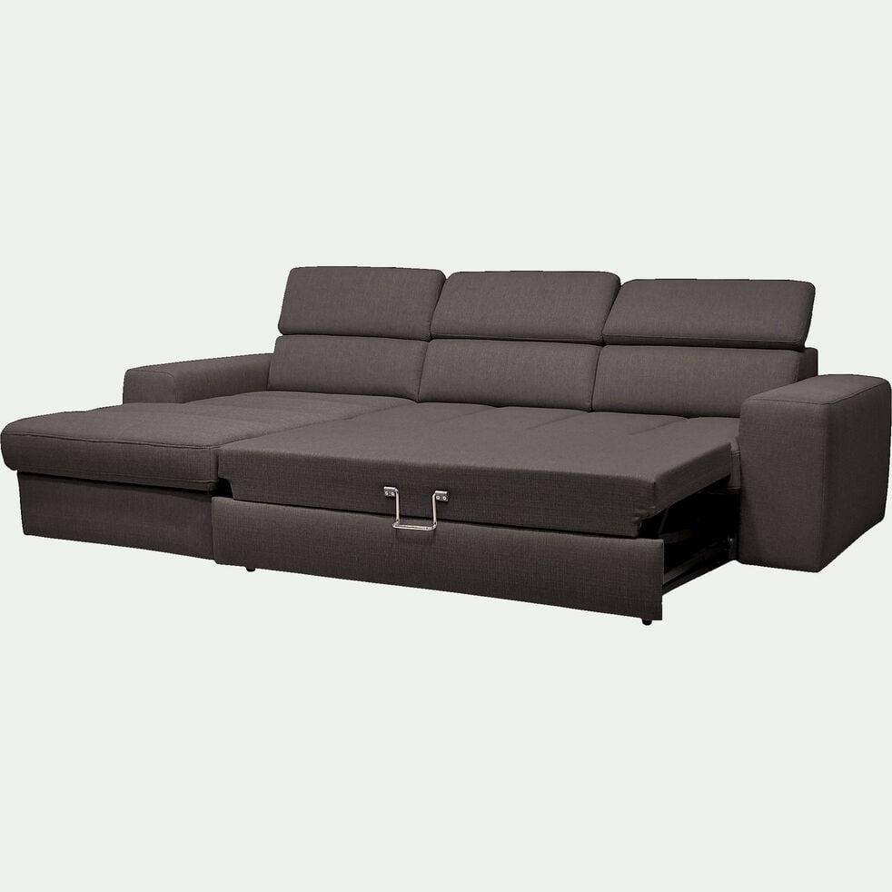 Canapé d'angle gauche convertible en tissu - gris anthracite-TONIN