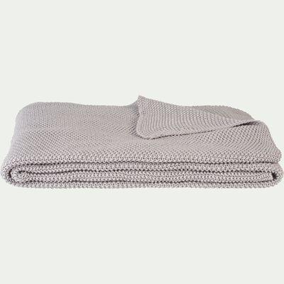 Jeté de lit tricoté en coton gris borie 180x220cm-VERDON