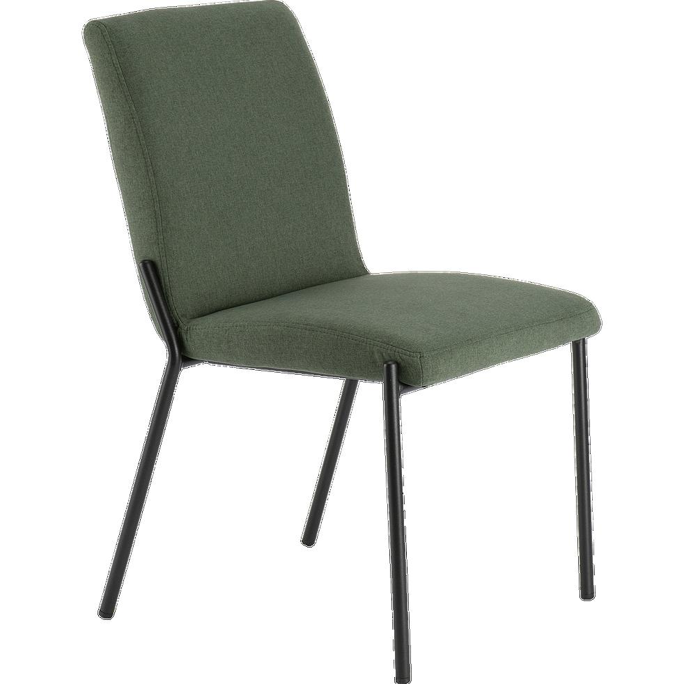chaise en tissu vert cèdre pieds noirs-JASPE