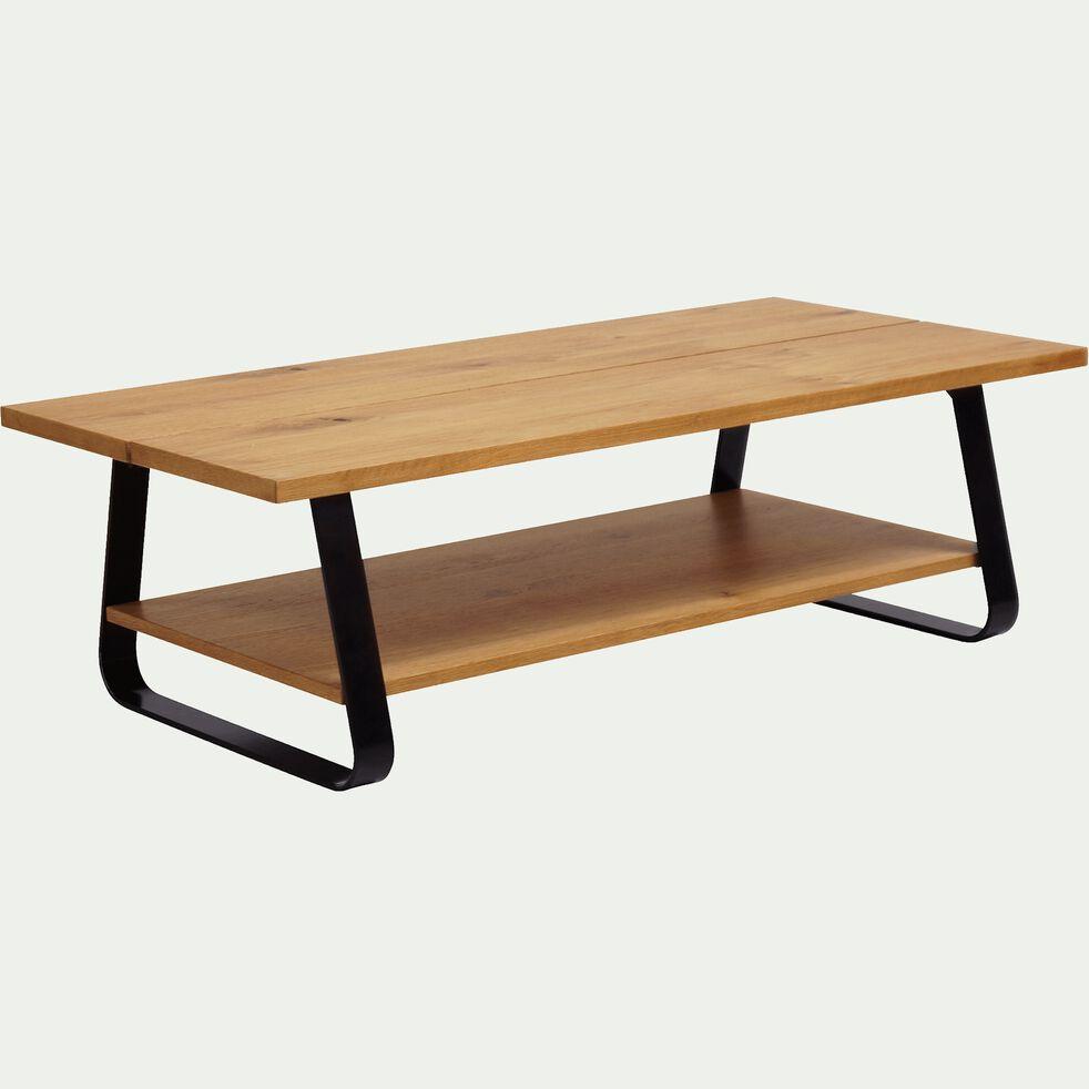 Table basse plaquée chêne avec piétement luge en métal noir-FANTINE