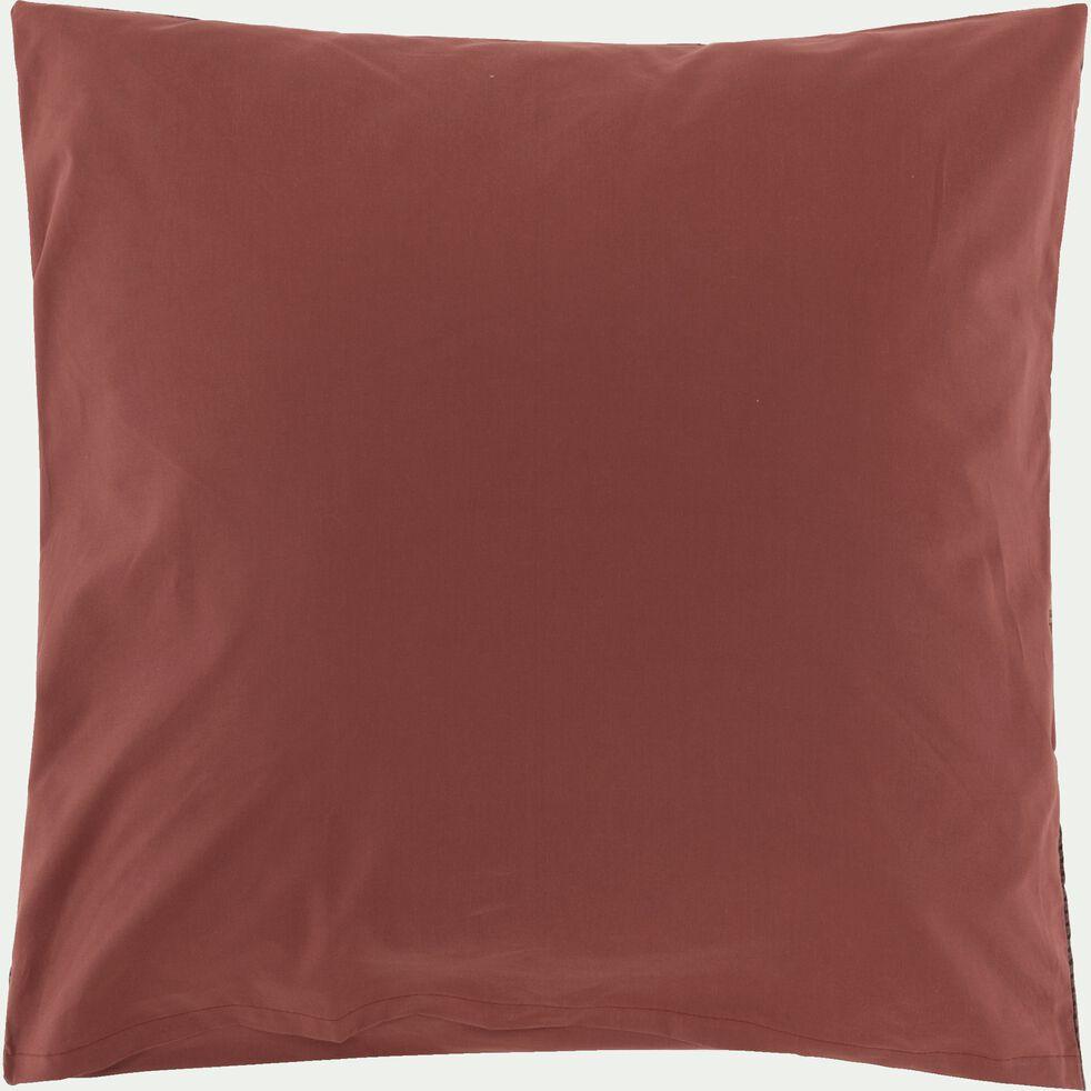 Housse de couette et 2 taies d'oreiller en percale de coton - brun ombre 240x220cm-GASPARD