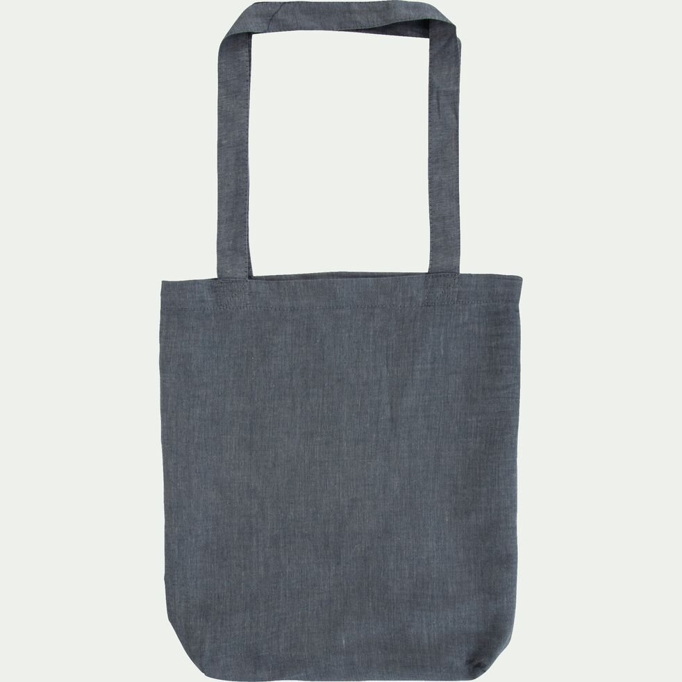 Housse de couette en coton chambray - gris anthracite 260x240cm-FRIOUL