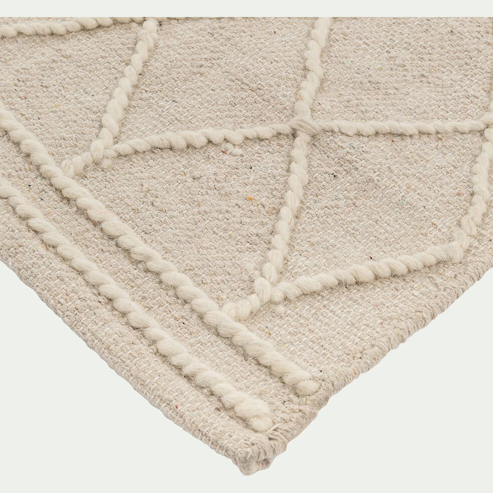 Tapis motifs en relief en coton - blanc 120x170cm-THAR