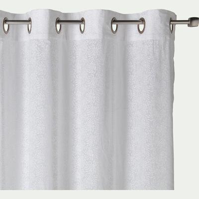 Voilage à œillets en coton motif Jasmin - blanc 140x250cm-JASMIN