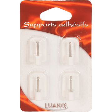 Lot de 4 supports adhésifs blancs