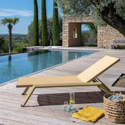 Bain de soleil en aluminium et toile textilène - jaune argan-Sali