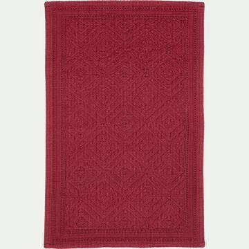 Tapis de bain surpiquage losanges en coton - rouge sumac 50x70cm-SADOU
