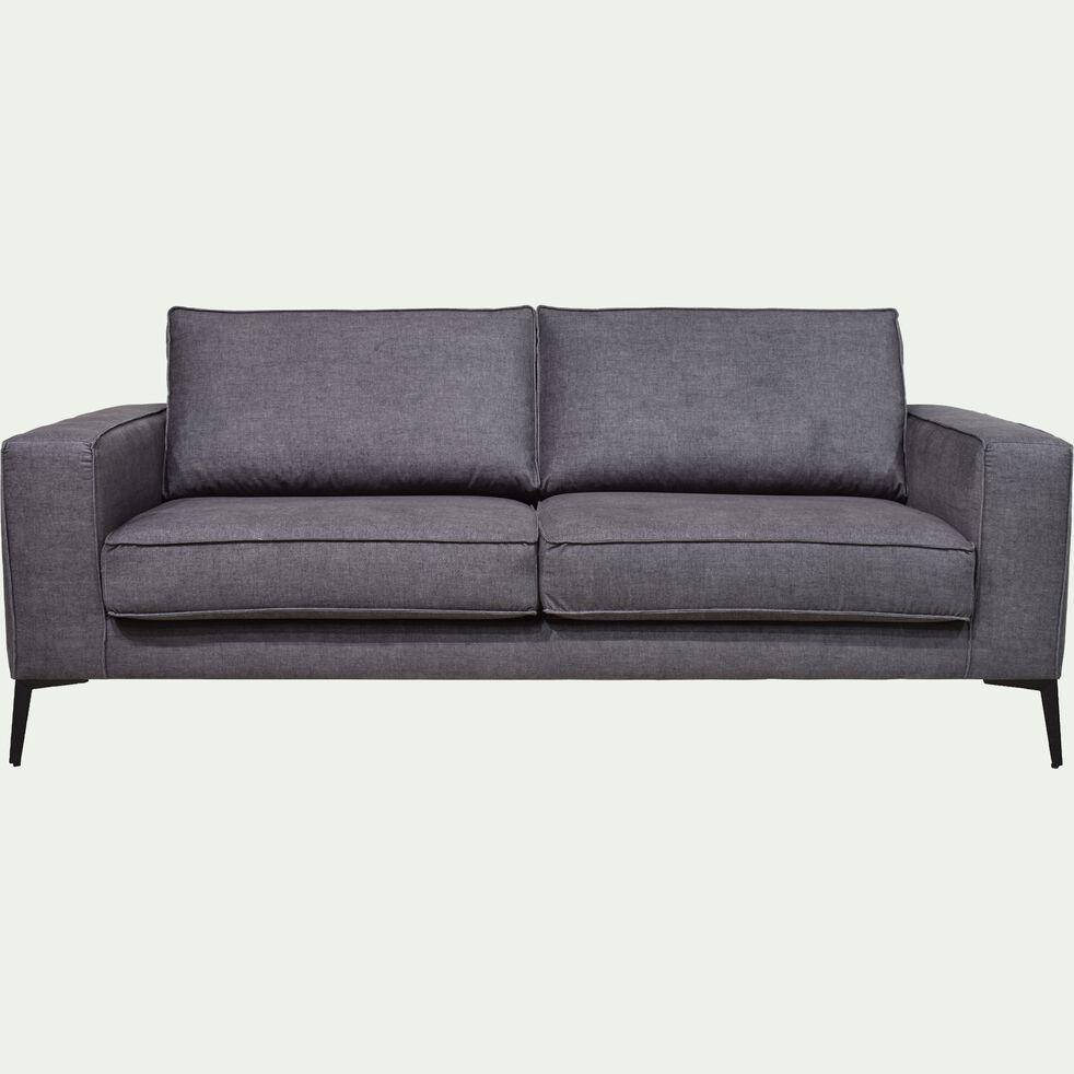 Canapé fixe 3 places pieds hauts noirs - gris restanque-CALIFORNIA