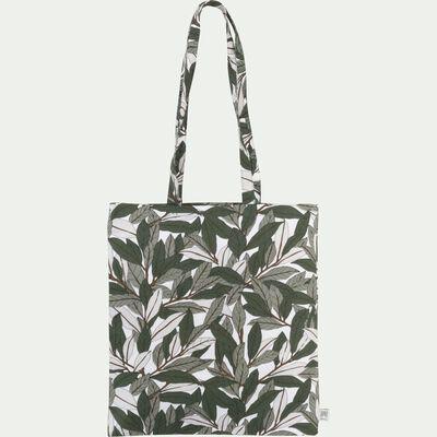 Sac en coton motif Laurier - vert 38x42cm-LAURIER