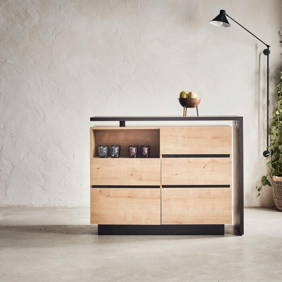Ilot centrale de cuisine pivotant en bois - naturel-MADON