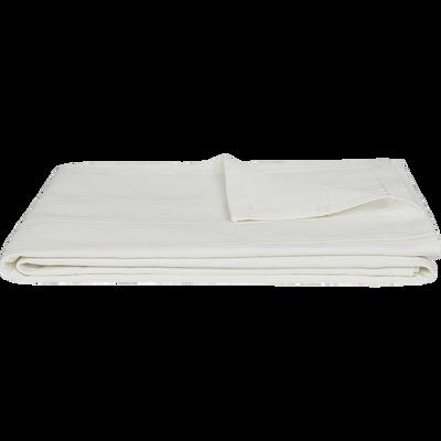 Plaid tissé en coton blanc ventoux 180x230cm-BELCODENE