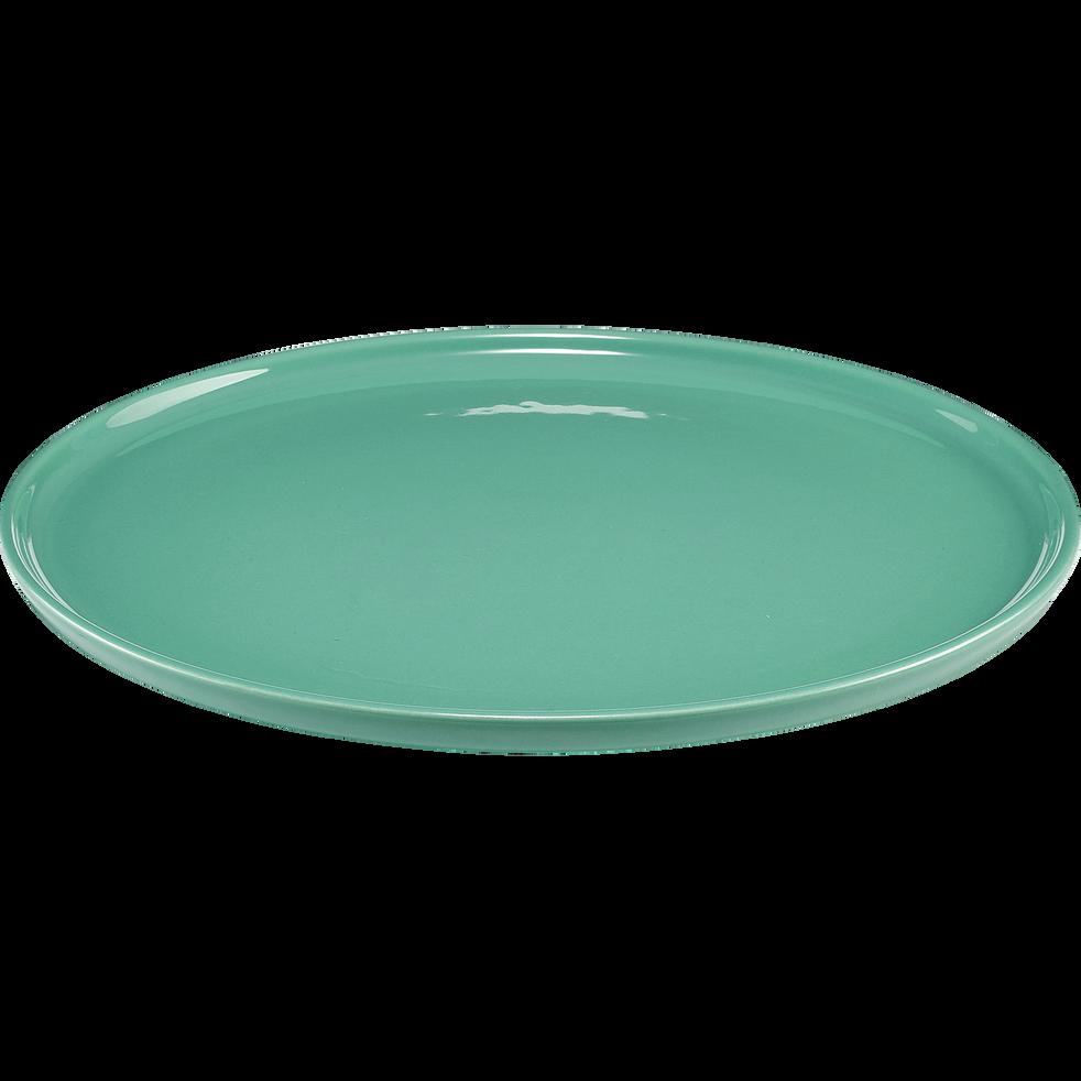 Assiette plate en faïence vert d'eau D27cm-VADIM