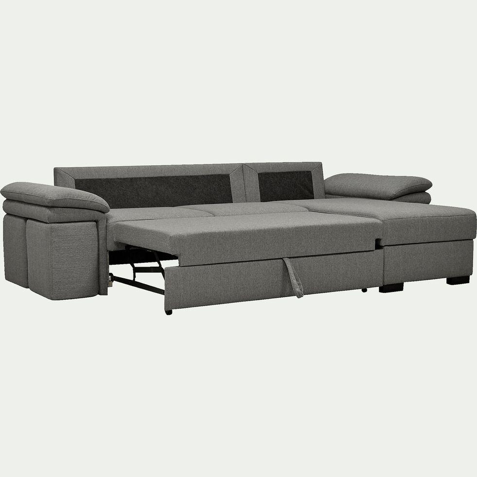 Canapé d'angle réversible convertible en tissu et 4 poufs - gris clair-CHARLES