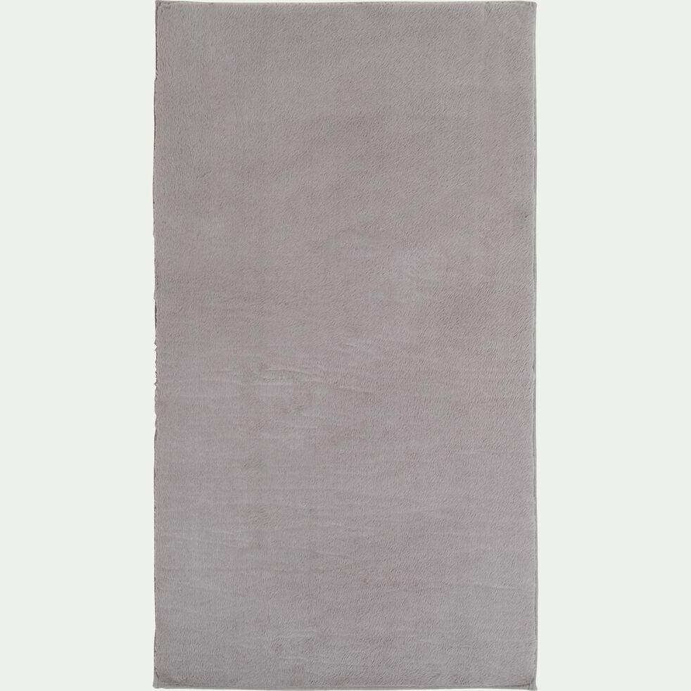 Tapis imitation fourrure - gris restanque 60x110cm-ROBIN