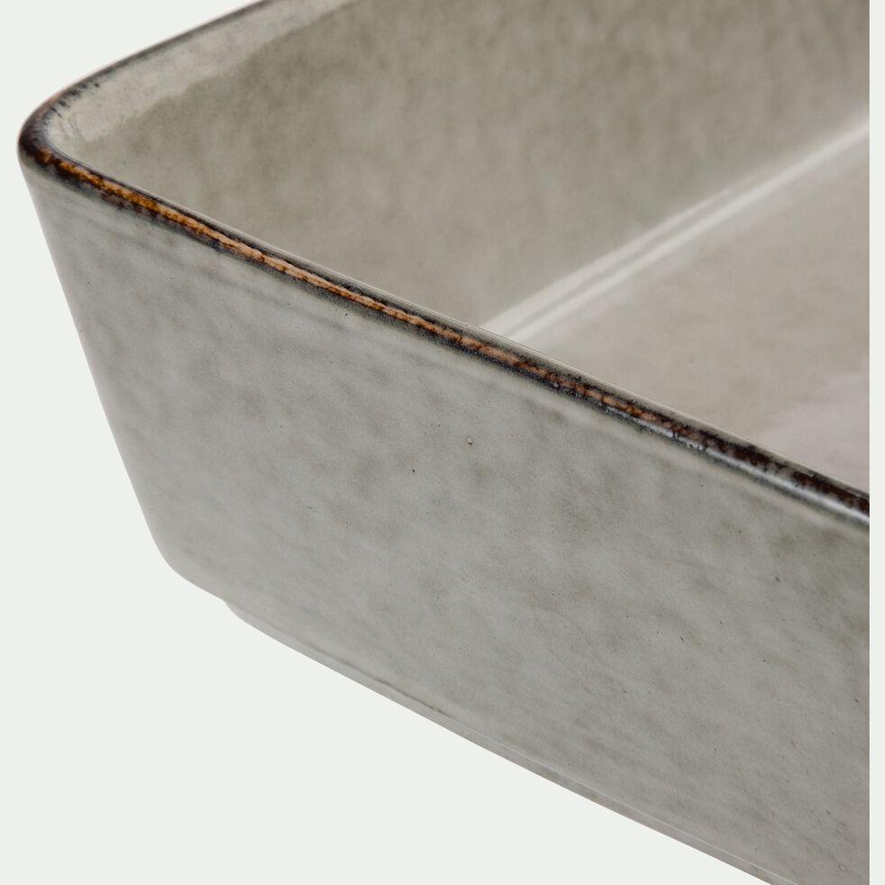 Plat en grès vert 20x13,5cm-ADAM