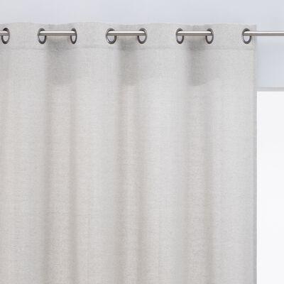 Rideau à œillets en polyester chambray - gris clair 140x250cm-CORBIN