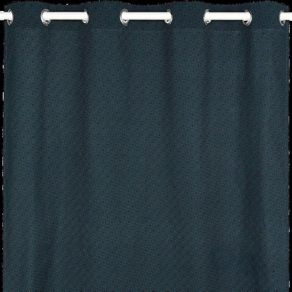 Rideau à motif bleu 140x250cm-MOZAIQUE
