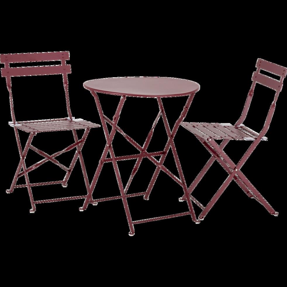 Table de jardin pliante rouge sumac D60cm (2 places)-CERVIONE