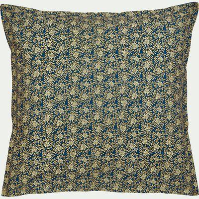 Lot de 2 taies d'oreiller en percale de coton 63x63cm - doré et bleu-LIVIA