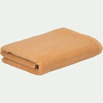 Drap de douche bouclette en coton bio - marron camel 70x130cm-COLINE