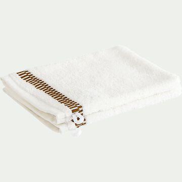 Lot de 2 gants de toilette en coton peigné - blanc ventoux-Garance