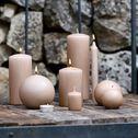 Bougie ronde - rose sable D8cm-HALBA