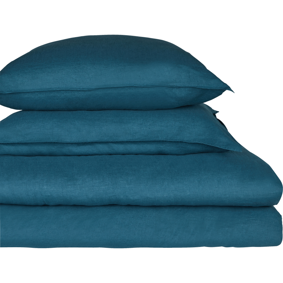 drap housse en lin bleu figuerolles 140x200cm bonnet 28cm vence 140x200 cm catalogue. Black Bedroom Furniture Sets. Home Design Ideas