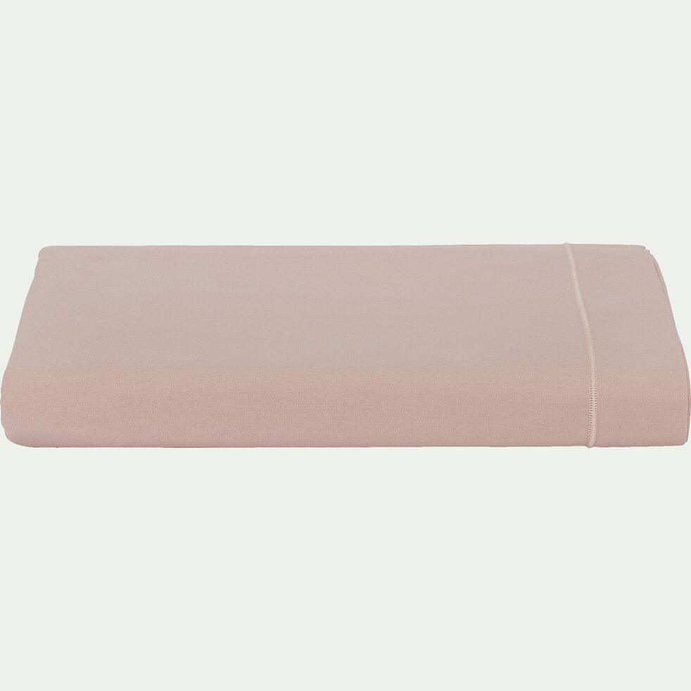 Drap plat en coton - rose rosa 180x290cm-CALANQUES