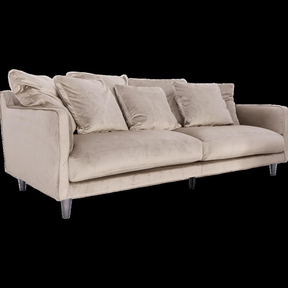 canap 4 places fixe en velours rose gr ge lenita la s lection velours alinea. Black Bedroom Furniture Sets. Home Design Ideas