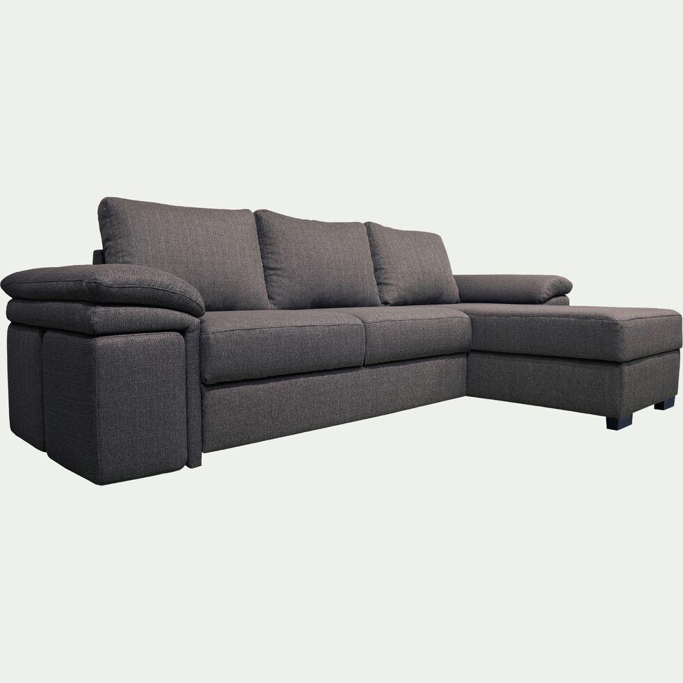 Canapé d'angle réversible convertible en tissu et 4 poufs - gris restanque-CHARLES