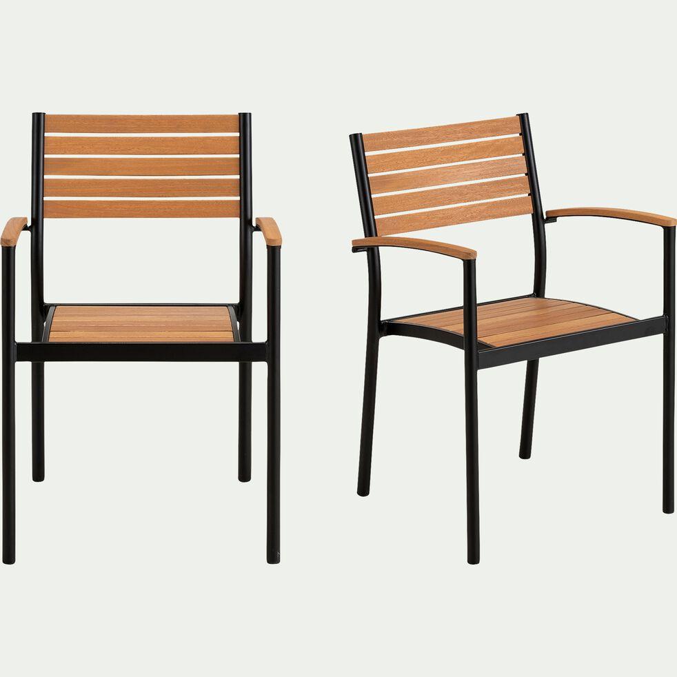 Chaise de jardin empilable en aluminium et eucalyptus avec accoudoirs - naturel-TANOS