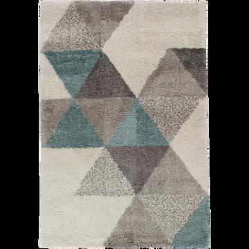 Tapis à motifs géométriques bleu 160x230cm-OSLO