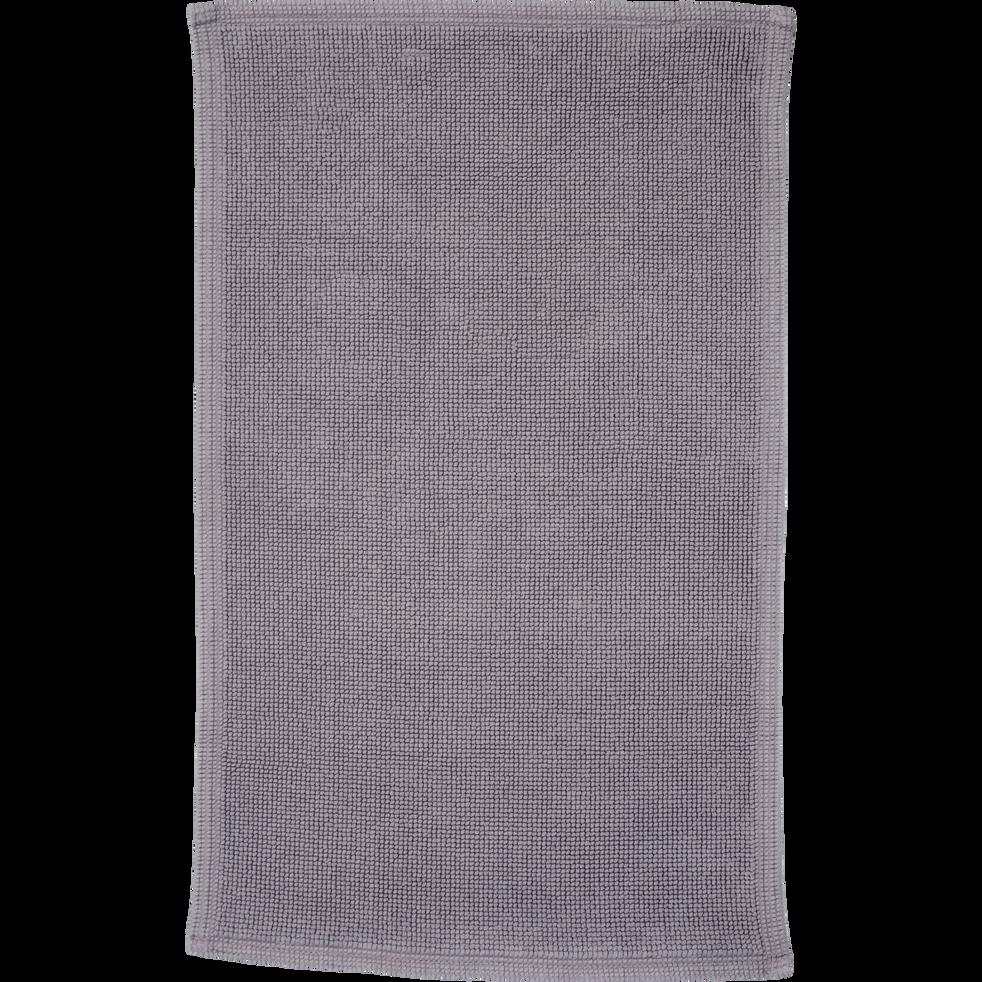Tapis de bain en coton texturé gris restanque-CALADE