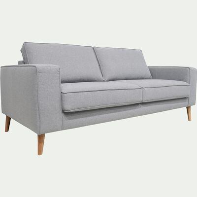 Canapé fixe 3 places pieds hauts - gris clair-CALIFORNIA
