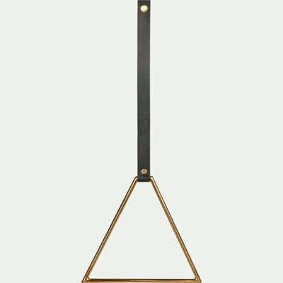 Patère triangle en inox et cuir - doré H49cm-CAMARET