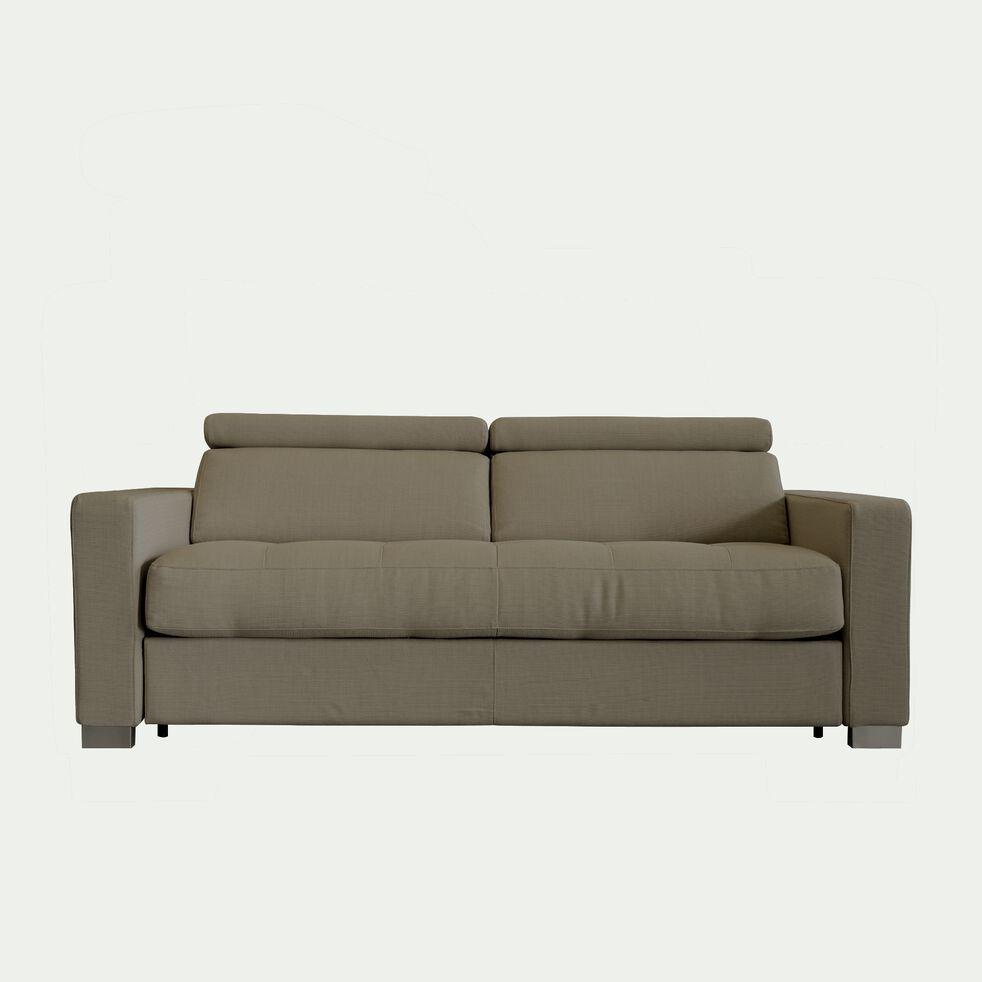 Canapé 3 places convertible en tissu avec accoudoir 15cm - taupe-MAURO