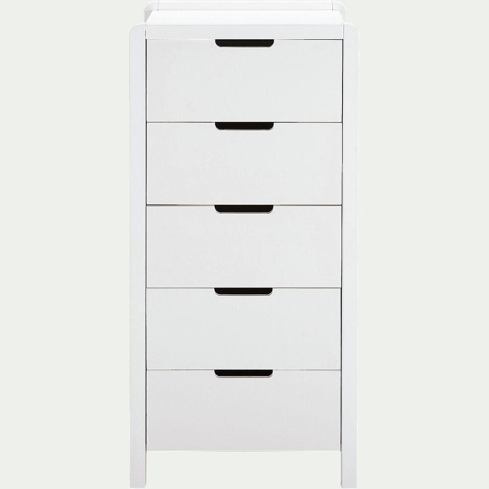 Chiffonnier 5 tiroirs en bois - blanc-JAUME