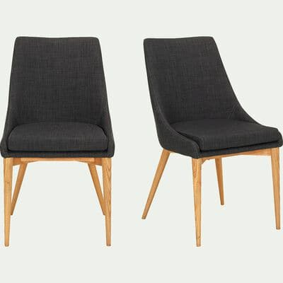 Chaise en tissu gris foncé piètement bois-ABBY