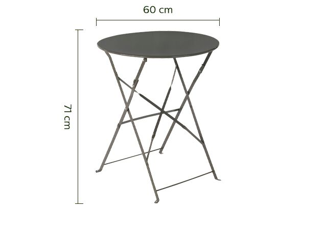 Table de jardin pliante taupe D60cm (2 places)-CERVIONE