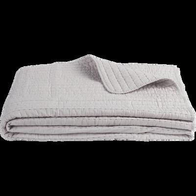 Couvre-lit en coton gris borie et gris restanque 180x230cm-CASTEL