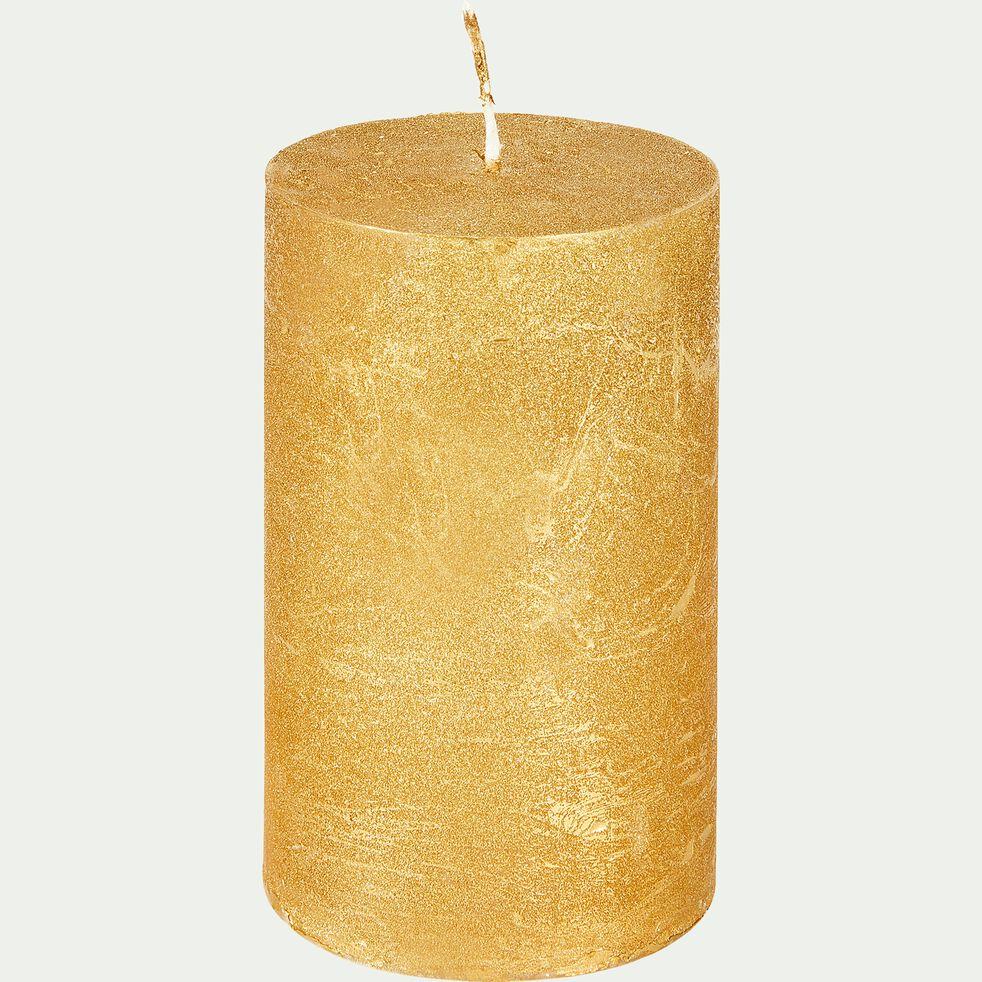 Bougie cylindrique dorée H11cm-TOTEM