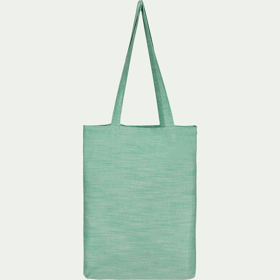 Housse de couette et 2 taies d'oreiller en coton lavé - vert menthe 240x220cm-RIMINI