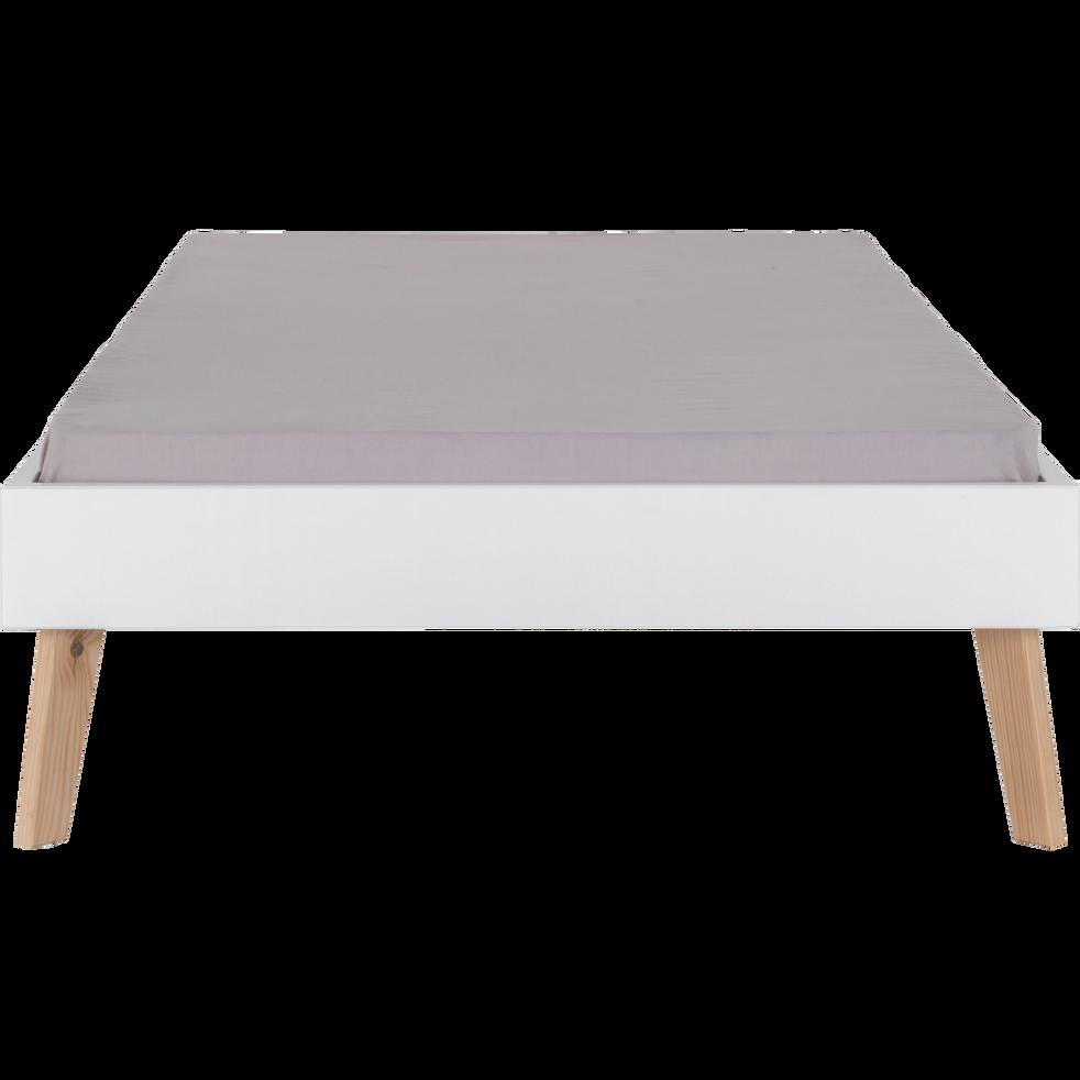 Lit finition bois Blanc - 90x200 cm-SACHA