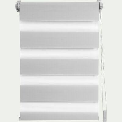 Store enrouleur tamisant gris clair 37x190cm-JOUR-NUIT