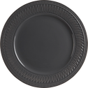 Assiette plate en grès anthracite et décors en relief D26.5cm-EMPIRE