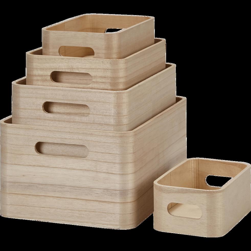 lot de 5 caisses en bois origan bo tes de rangement alinea. Black Bedroom Furniture Sets. Home Design Ideas