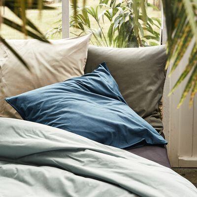 Drap plat en coton - bleu calaluna 180x290cm-CALANQUES